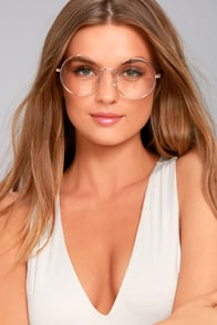 Kingston Clear and Rose Gold Round Glasses