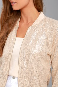 Rising Star Beige Sequin Bomber Jacket