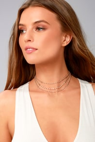Beyond Compare Gold and Tan Suede Layered Choker Necklace
