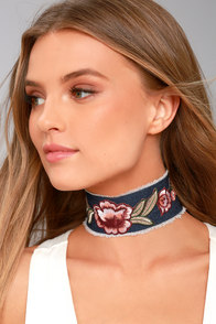 Floral Days Dark Denim Embroidered Choker