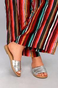 Zola Silver Slide Sandals