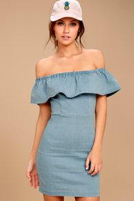 Time of Your Life Light Blue Denim Off-the-Shoulder Dress