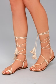 Veronica Nude Lace-Up Flat Sandals