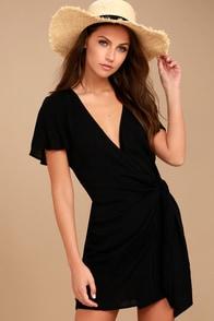 Vashti Black Wrap Dress