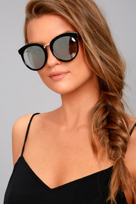 Perverse Luxe Black and Silver Mirrored Sunglasses