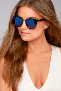 Soho Sun Black and Blue Mirrored Sunglasses