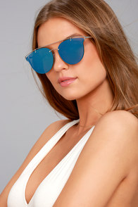 Super Powers Silver and Blue Mirrored Sunglasses