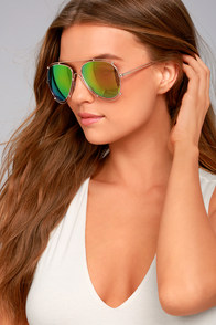 Hot Springs Gold and Pink Mirrored Aviator Sunglasses
