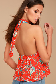 Poppy Parade Coral Red Floral Print Halter Top