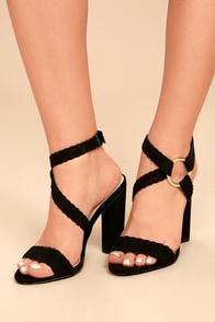 Cusco Black Suede Ankle Strap Heels
