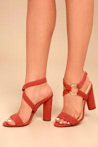 Cusco Cinnamon Red Suede Ankle Strap Heels
