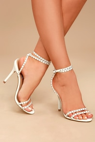 Steve Madden Wish White Leather Studded Ankle Strap Heels