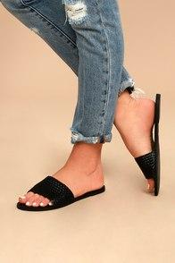 Marley Black Woven Slide Sandals