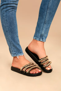 Dee Black Chain Slide Sandals