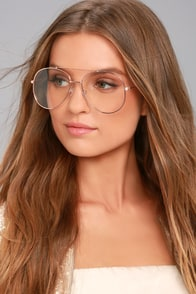 Nantes Clear and Rose Gold Aviator Glasses