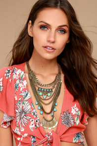 In the Morning Turquoise and Gold Statement Necklace
