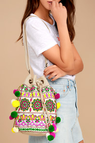 Moroccan Melody Beige Woven Bucket Bag