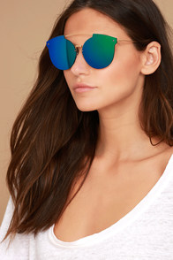Now or Never Gold and Green Mirrored Sunglasses