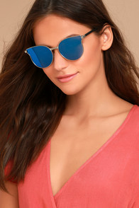 Modern Twist Silver and Blue Mirrored Sunglasses