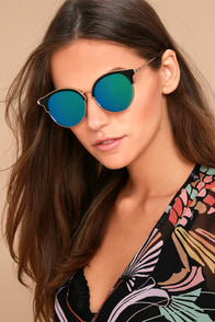 Honey Bee Gold and Green Mirrored Sunglasses