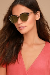 Honey Bee Gold and Yellow Mirrored Sunglasses