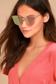Bright Lights Rose Gold and Pink Mirrored Sunglasses