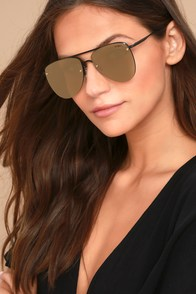 Le Specs The Prince Matte Black and Gold Mirrored Sunglasses