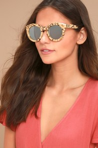 YHF Los Angeles Jessica Cream and Silver Mirrored Sunglasses