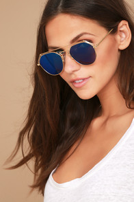 YHF Los Angeles Stephanie Gold and Blue Mirrored Sunglasses