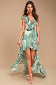 Meant to Be Sage Green Print High-Low Dress
