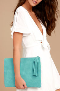 Sunswept Turquoise Suede Leather Clutch
