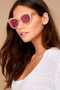 Sonix Eliot Beige and Pink Mirrored Sunglasses