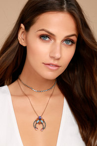 Splendor of Love Gold Rhinestone Layered Choker Necklace