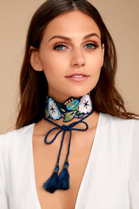 Rahi Cali Find Your Bliss Blue Embroidered Choker Necklace