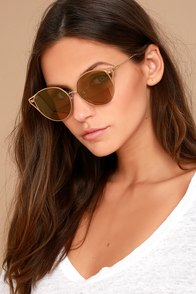 Sonix Ibiza Gold Mirrored Sunglasses