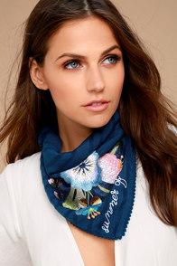 Rahi Cali Summer of Love Navy Blue Embroidered Bandana