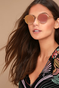 Sonix Ace Gold and Pink Mirrored Sunglasses