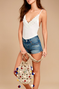 Getaway Today Beige Beaded Pompom Bucket Bag