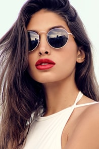 Keep Dancing Gold and Grey Mirrored Aviator Sunglasses