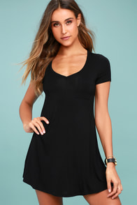 Better Together Black Shirt Dress
