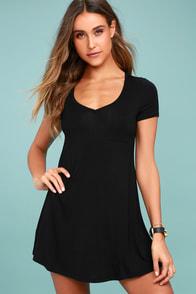 Better Together Black Shirt Dress
