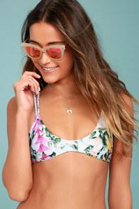 Stone Fox Indie White Floral Print Bikini Top