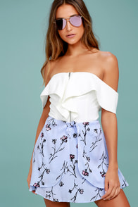 Garden of Serenity Periwinkle Blue Floral Print Skirt