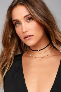Made of Stars Black and Gold Layered Choker Necklace