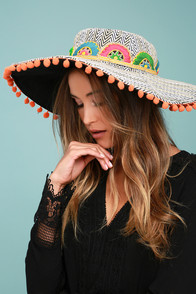 De La Cruz White and Beige Striped Pompom Hat