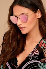 YHF Los Angeles Stephanie Gold and Pink Mirrored Sunglasses