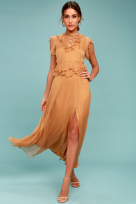 New Friends Colony Maya Tan Lace-Up Maxi Dress