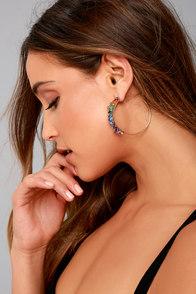 Prismatic Gold and Rainbow Rhinestone Hoop Earrings