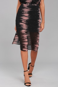 Want Amore Pink and Black Print Midi Skirt