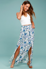 Lucy Love French Seaside White Floral Print Maxi Skirt
